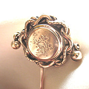 Antique 19th C Century French Napoleon III Victorian Gold Filled Stickpin Stick Pin Roses Dang