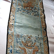 Antique Chinese Qing DRAGON Panel Runner 19th C Century LARGE Embroidery Embroidered IMPERIAL