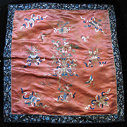 REDUCED Antique CHINESE Embroidery Qing Wedding 19th C Century Embroidered Red Silk DIVINE