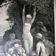 Antique 19th C Century French Art NOUVEAU Nudes Large Print Engraving LISTED Artist AMAZING!