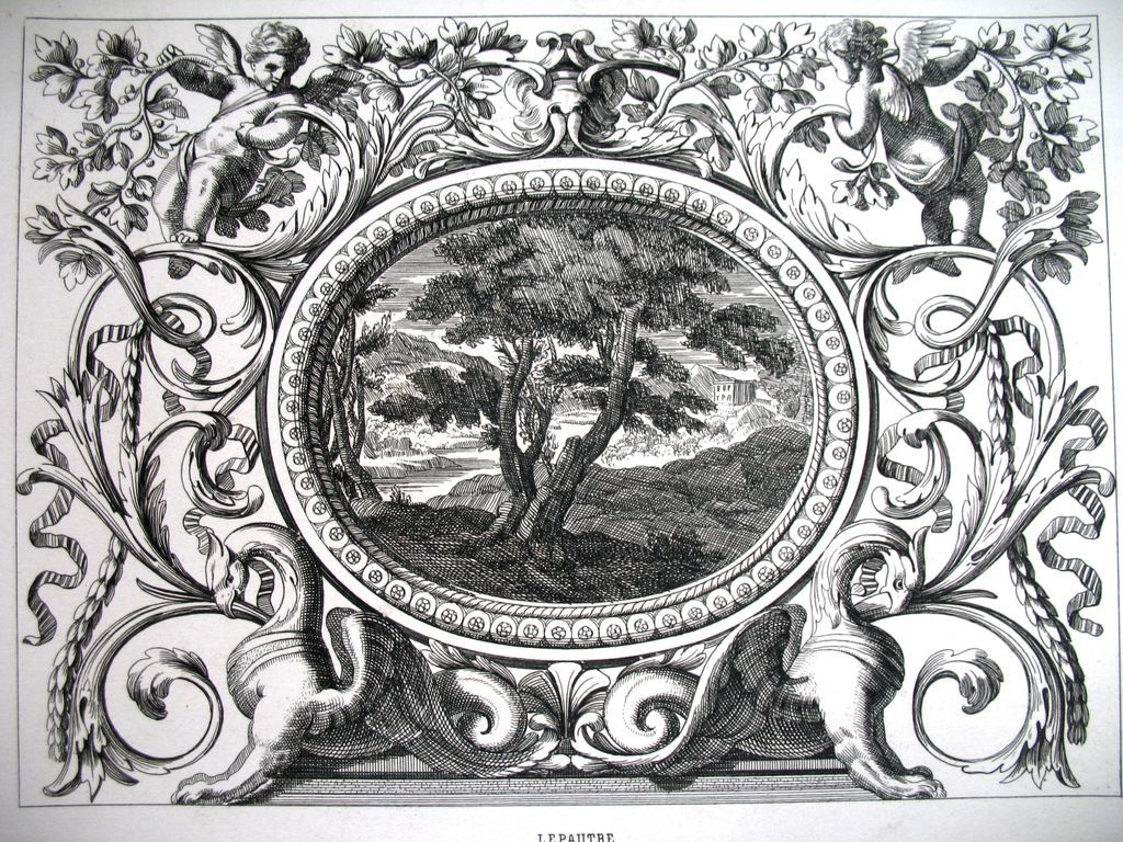 Antique LISTED Baroque French Print Louis XIV PUTTI Griffins Landscape 19th C Century FABULOUS!
