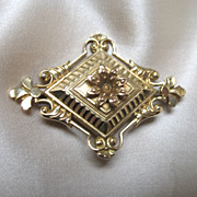 Antique French Victorian Napoleon III LARGE Ornate Gilt Pin Brooch STUNNING!