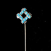 Antique French EDWARDIAN Turquoises Stickpin Stick Pin 800 Silver Very ELEGANT!