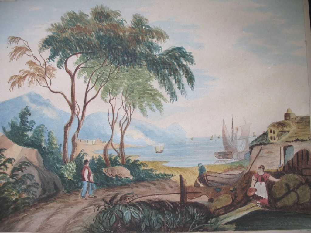 Antique Victorian ITALIAN Watercolor Painting Coastal ...