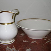 French Antique Art Nouveau Period Porcelain Pitcher And Bowl