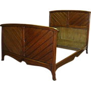 French Vintage Art Deco Period Beech Bed