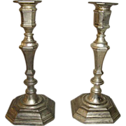 19th Century French Antique Spelter Candleholders