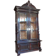 19th Century Dutch Antique Ebony Bookcase