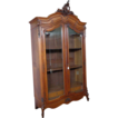 19th Century French Antique Rococo Walnut Bookcase