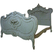 19th Century French Antique Rococo Painted Bed