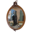 French Antique Walnut Rococo Oval Mirror
