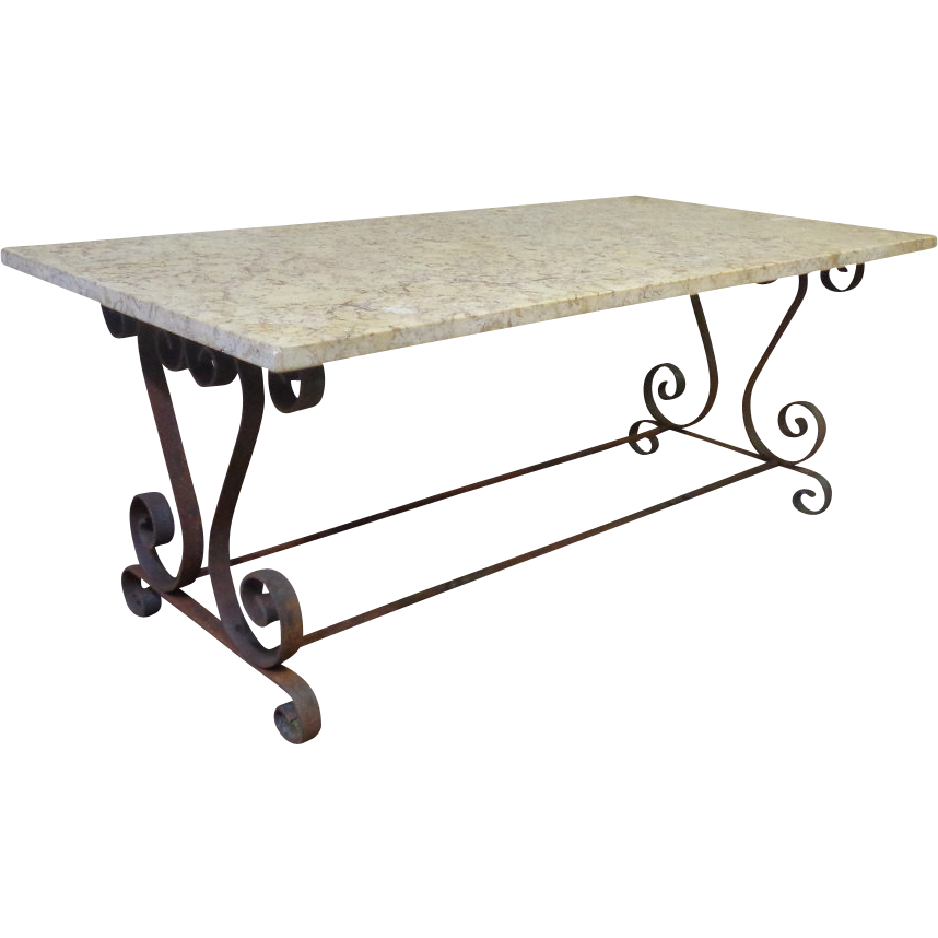 French Provencal Wrought Iron Coffee Table