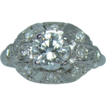Divine Platinum Deco GIA Diamond 1930's Engagement Ring
