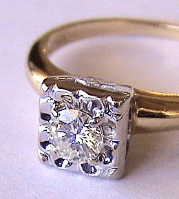 "Sweetest Ca 1940 14K Diamond Engagement or Promise Ring ""One Love"""