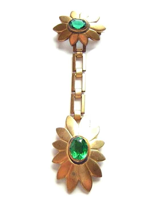 Gilt Brass Green Glass Stone Flower Brooch