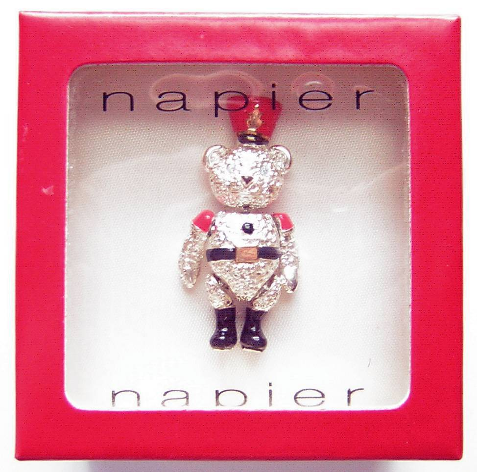 Vintage Napier ~ Articulated Teddy Bear Brooch in Original Box