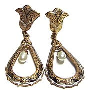 Vintage Long Dangling Damascene Earrings w/ Simulated Pearl Drop