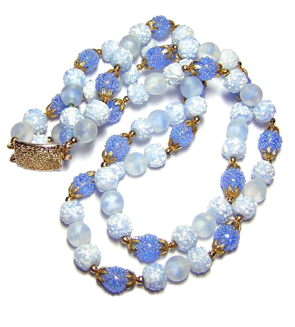 Vintage Blue Art Glass Bead Necklace