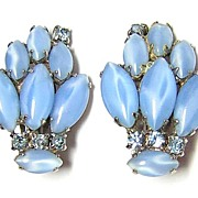 Vintage 1950s Blue Rhinestone Earrings