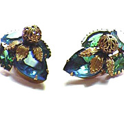 Vintage Variegated Blue & Green Rhinestone & Bead Earrings