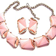 Vintage Pink Thermoplastic Necklace & Earrings Set