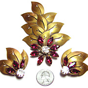 Vintage Joseff  ~ Floral Rhinestone Brooch & Earrings Set