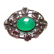 Early 20th Century Germany ~ Sterling Silver & Chalcedony Brooch