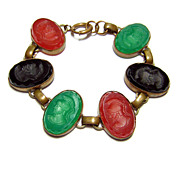 Antique Pressed Glass Intaglio Bracelet