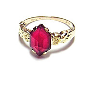 Antique Garnet 10K Gold Ring by Plainville Stock Co ~ P.S.Co