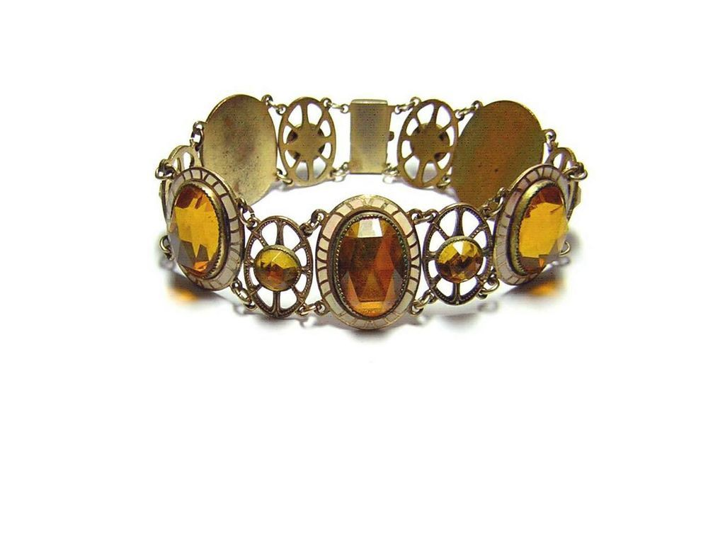 Late Victorian Enamel & Yellow Glass Bracelet