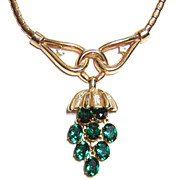 1950 Trifari ~ Green Rhinestone Drop Necklace