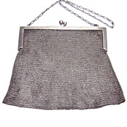 R. Blackington & Co ~ Antique Sterling Silver Mesh Handbag Purse