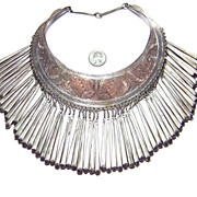 Large Vintage Egyptian Silver Plated Collar Bib Necklace