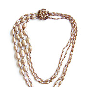Miriam Haskell ~ 4 Strand Faux Baroque Pearl Necklace