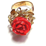 Early 1900s Carved Red Coral & 10k Gold Ring