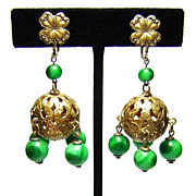 Vintage Brass & Green Glass Bead Earrings