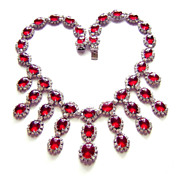 Vintage Kramer ~ Red Glass Cabochons & Rhinestone Necklace