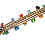 Vintage Colored Rhinestone & Chain Bracelet