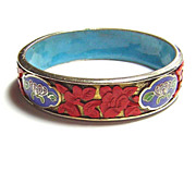 Vintage Chinese Enamel & Cinnabar Bangle Bracelet