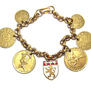 Vintage Coro ~ Brass Coin Charm Bracelet