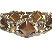Vintage Brown Moonglow Thermoplastic & Rhinestone Bracelet