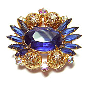 Vintage D&E Juliana ~ Large Blue Rhinestone & Filigree Bead Brooch