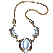 Vintage Dewees ~ Sterling Silver & Simulated Moonstone Necklace