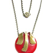 Vintage Red Bakelite & Brass Necklace