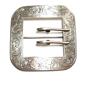 Antique James E Blake ~ Large Hand Chased Sterling Buckle Brooch