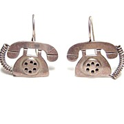 Anne Harvey Mexico ~ Sterling Silver Telephone Earrings