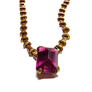 Vintage Brass Necklace w/ Large Glass Purple Stone