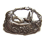 Vintage Signed LLC ~ Sterling Silver Art Nouveau Revival Brooch