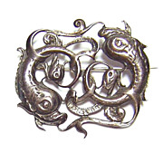 Mid 20th Century DB Scotland ~ Sterling Silver Fish Brooch