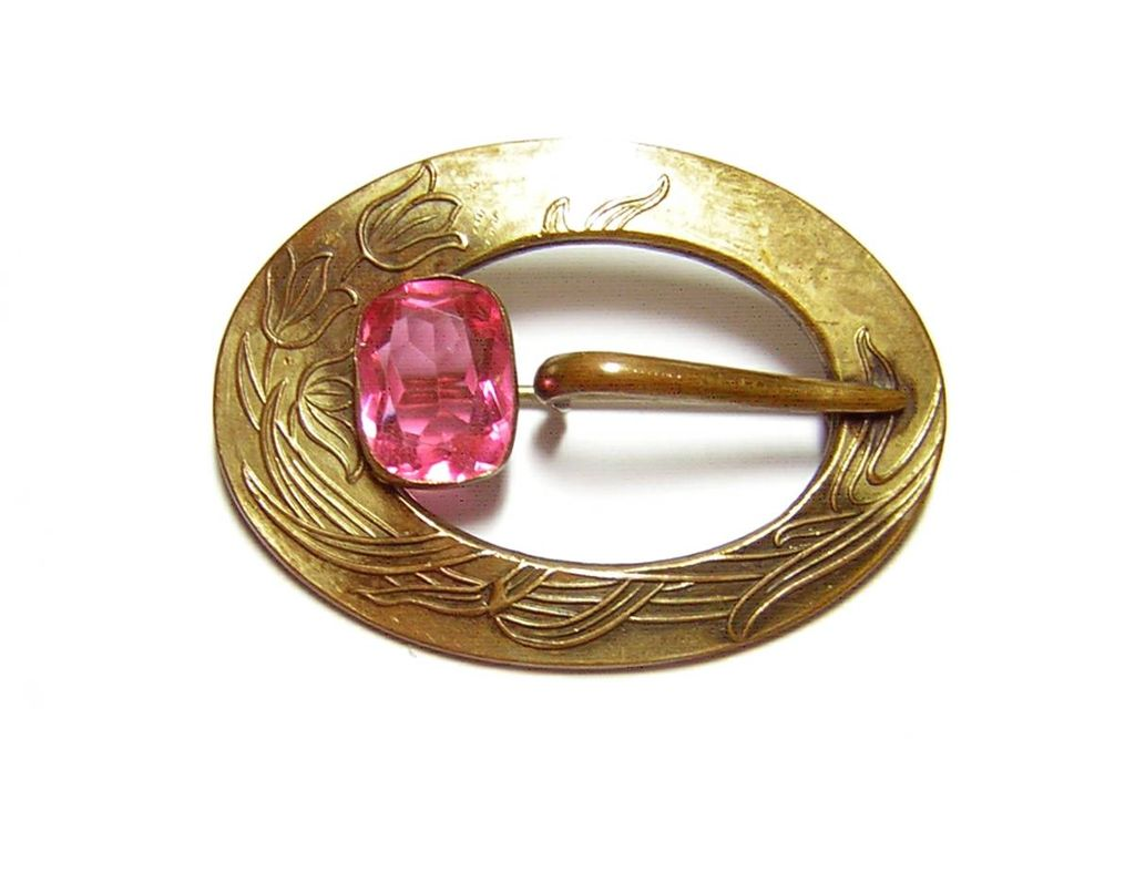 Antique Gilt Brass Pink Stone Sash Pin / Brooch